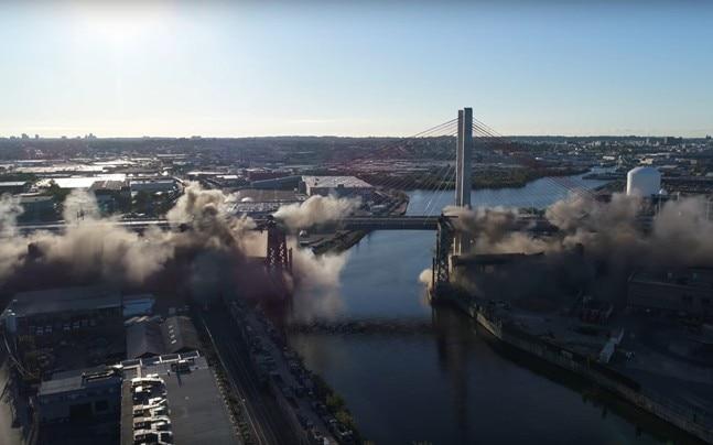 Demolition of Kosciuszko Bridge in New York