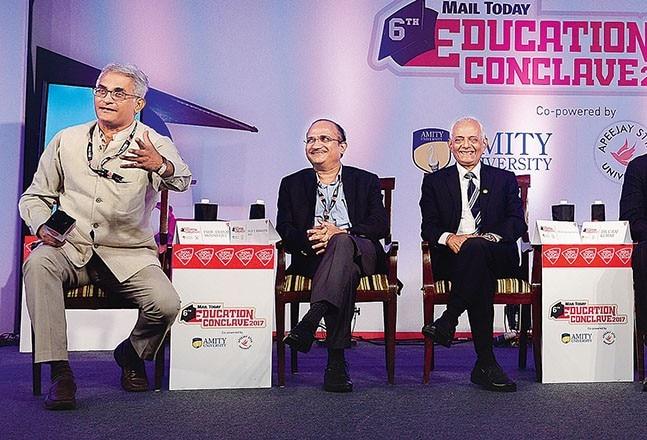 (From left) Moderator Prof Debraj Mookerjee, Prof V Ramgopal Rao, Dr W Selvamurthy, Dr C Raj Kumar, Dr SK Salwan and Prof Aditya Shastri.
