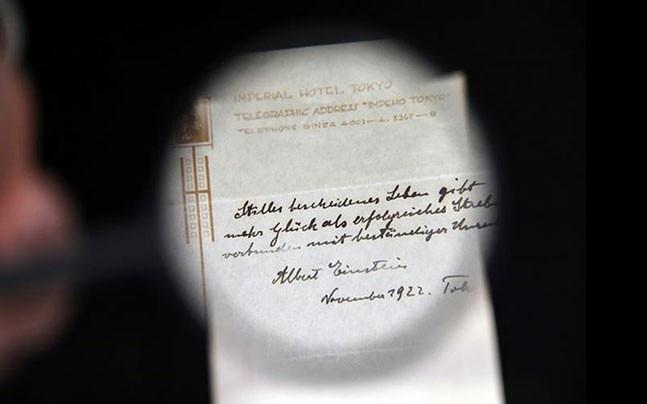 Albert Einstein's hand written note describing his theory of happy living
