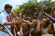 Hardik Patel with supporters