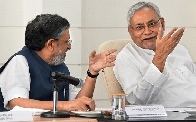 Nitish Kumar with Sushil Kumar Modi