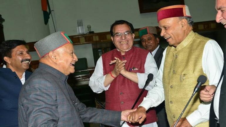 Himachal Pradesh CM Virbhadra Singh with former CM Prem Kumar Dhumal