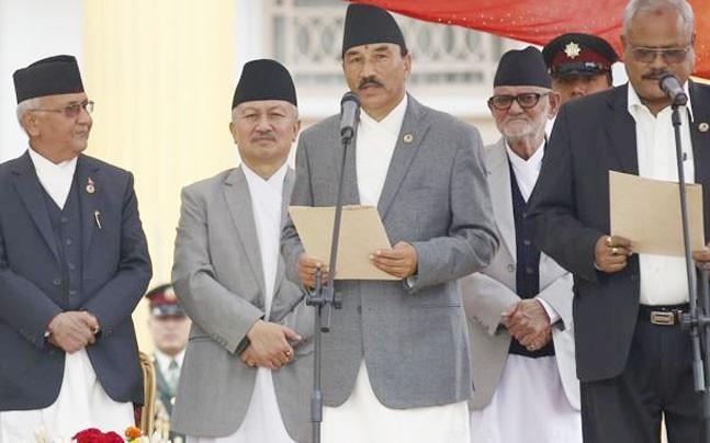 Kamal Thapa (centre) Photo: Reuters