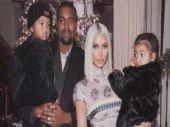 Kim Kardashian with husband Kanye West and children.