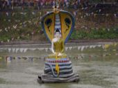 An idol of Lord Buddha is seen at the Mahabodhi temple compound