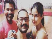 Katrina Kaif shared this picture of herself, Aamir Khan, and Prabhudheva on Instagram