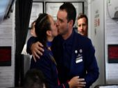 Crew members Paula Podest and Carlos Ciufffardi kiss after being married on board by Pope Francis.