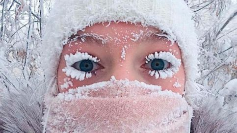 A girl poses for a selfie with frozen eyelashes as the temperature in Yakutsk dropped to about -50 degrees