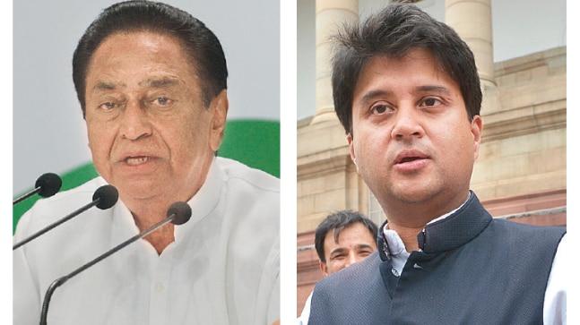 Congress leaders Kamal Nath (left) and Jyotiraditya Scindia (right)