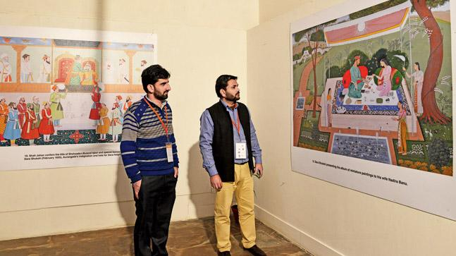 Paintings show Dara Shukoh with saints, him being paraded on an elephant before execution, etc.