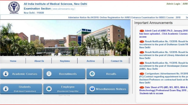 AIIMS MBBS Official Notification 2018 released: Check