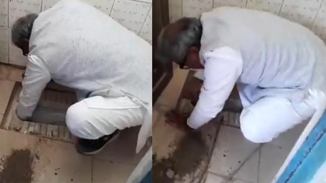 BJP MP Janardan Mishra cleans toilet during school visit