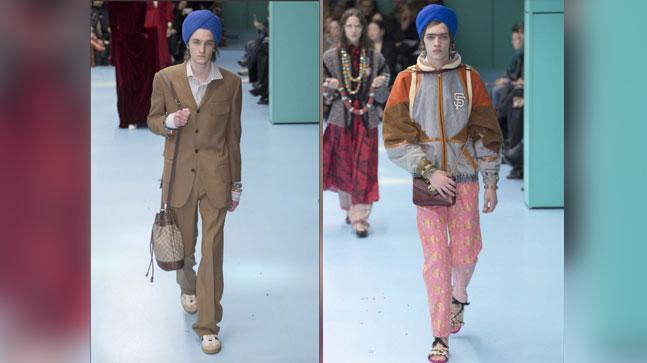 White male models walked the ramp wearing turbans for Gucci.