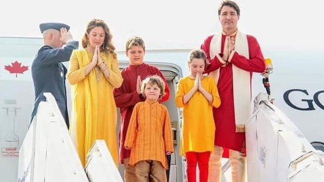 justin trudeau and family wear colour