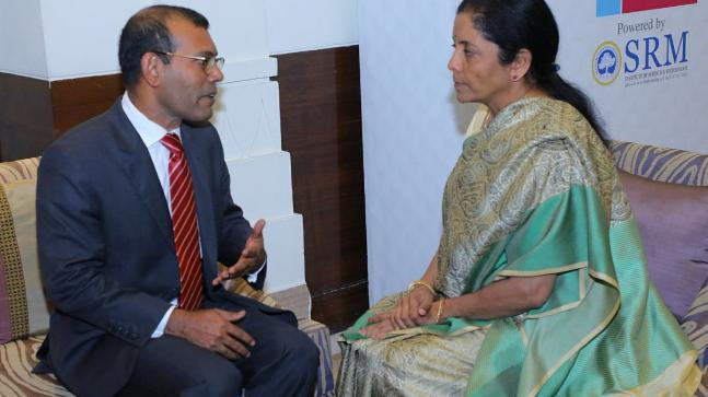 Former President of Maldives Mohammed Nasheed and Defence Minister Nirmala Sitharaman.