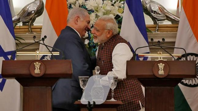 Indian Prime Minister Narendra Modi and his Israeli counterpart Benjamin Netanyahu