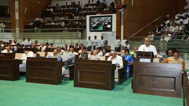 Deputy Chief Minister of Gujarat Nitinbhai Patel speaking at the Gujarat Assembly.