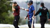 Ball hits bowler's head but flies for a six in 50-over match in New Zealand