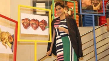 Sonam Kapoor in a striped dress.