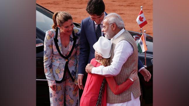 The Trudeaus with PM Modi.