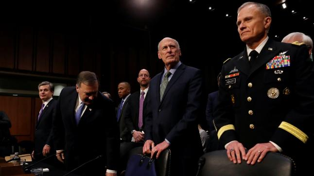 FBI Director Christopher Wray, CIA Director Mike Pompeo; DNI Dan Coats and Defense Intelligence Agency Director Robert Ashley