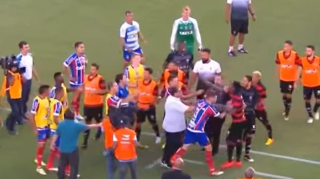 Insane scenes in Brazilian football match with nine players sent off