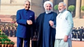 Iranian President Hassan Rouhani shakes hands with India's Prime Minister Narendra Modi (R) during a photo opportunity ahead of their meeting at Hyderabad House in New Delhi. (Reuters)