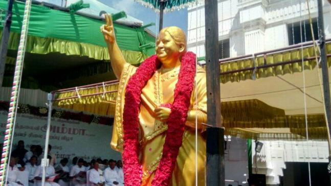 A statue of Jayalalithaa unveiled by the AIADMK's top leaders today on the occassion of her birth anniversary