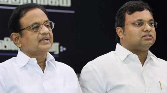 Former Union Finance Minister P. Chidambaram and his son Karthi Chidambaram