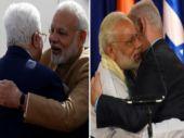 PM Narendra Modi with Palestinian President Mahmoud Abbas (left) and Israeli Prime Minister Benhamin Netanyahu