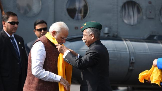 PM Narendra Modi being received in Itanagar, Arunachal Pradesh