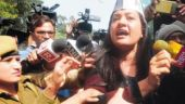 Police detain AAP leader Alka Lamba during a protest outside home minister Rajnath Singh's residence in New Delhi on Thursday. File photo