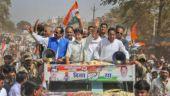 Congress MP Jyotiraditya Scindia (centre) campaigns before by-polls in Madhya Pradesh. Photo: PTI