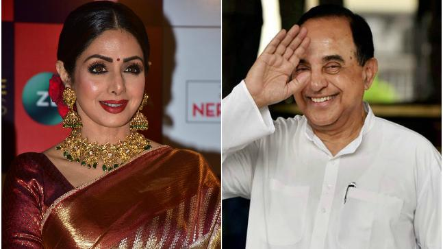 Sridevi (L) and Subramanian Swamy