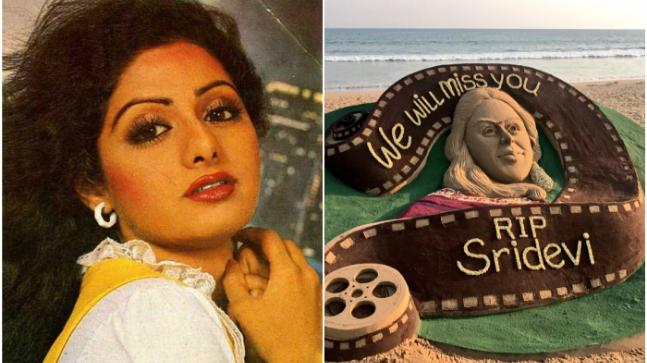 Sridevi (L) and the sand art made to pay tribute to her