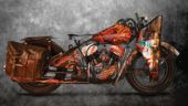 Flying Harley' is a World War II era Harley Davidson bike that has been painted with tattoo art.