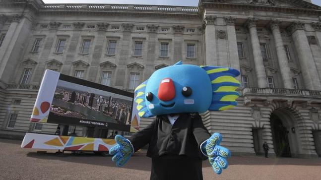 Commonwealth Games mascot Borobi at the forecourt of Buckingham Palace in March 2017