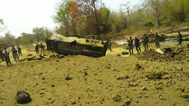 The CRPF van blown up by Naxals
