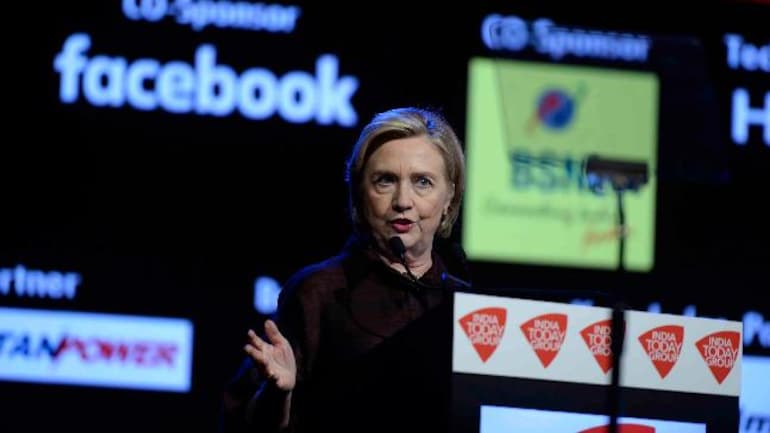 Former US Secretary of State Hillary Clinton at India Today Conclave
