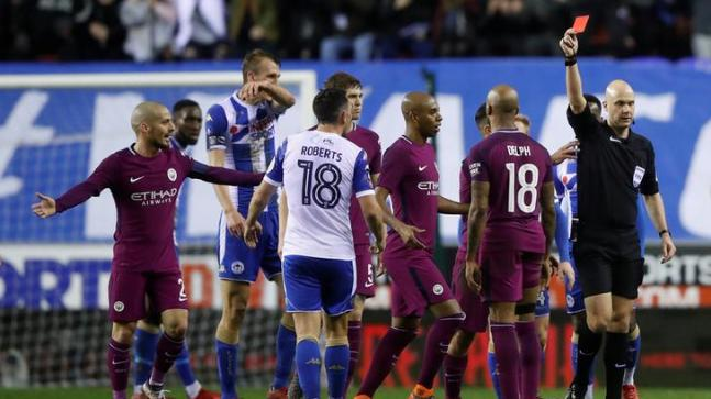 The two clubs were charged after their players clashed following midfielder Fabian Delph's sending off (Reuters Photo)