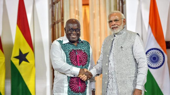 PM Modi greets Ghana President Nana Akufo-Addo. Photo: PTI