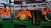 Defaced statues of Annadurai, MG Ramachandran and EV Ramasamy Naicker. (Photo: Shalini Lobo)