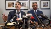 Jaspal Atwal, right, listens to his lawyer Rishi T. Gill during a news conference in downtown Vancouver, British Columbia, Thursday, March, 8, 2018. Photo: AP