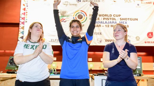 Manu Bhaker prevailed over hometown favorite Alejandra Zavala Vazquez in the women's 10m Air Pistol final (Photo tweeted by @ISSF_Shooting)
