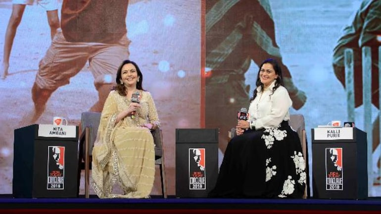 Nita Ambani with Kalli Purie at India Today Conclave 2018