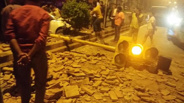 Image from the site of accident in Mukherjee Nagar.