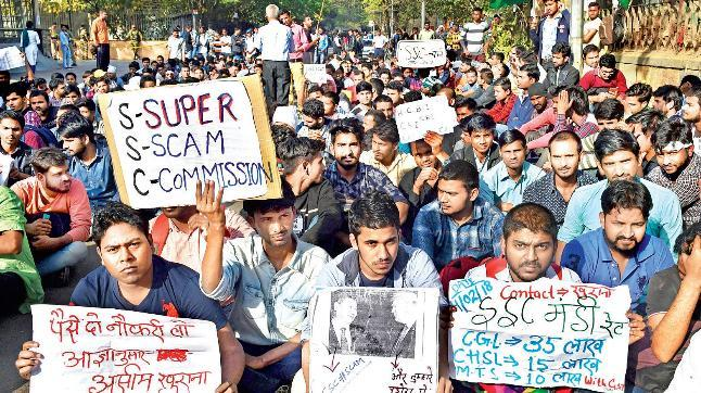 Students protested in the capital against the alleged paper leak.