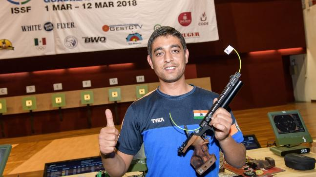 Shahzar Rizvi bagged gold at in the 10m air pistol event at the ISSF World Cup (Picture tweeted by @ISSF_Shooting)