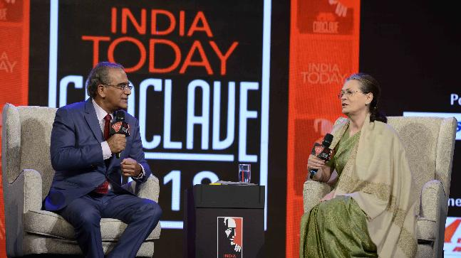 Image result for sonia gandhi india today conclave