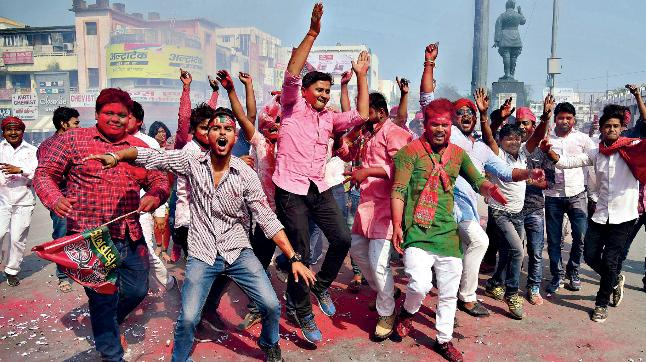 Saffron Bastion Falls: SP-BSP supporters celebrate bypoll PTI victory in Allahabad (Photo: PTI)